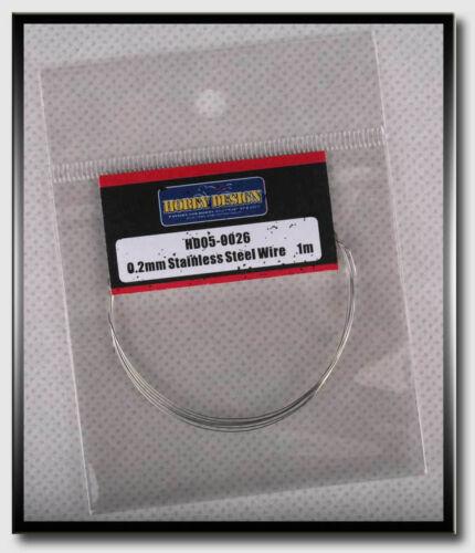 Diameter: 0.2mm, Length: 1 meter Hobby Design Stainless Steel Wire