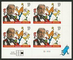 #3835 37c Dr. Seuss , Placa Bloque [S111111 LR ] Nuevo Cualquier 5=