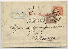 LOMBARDEI-VENETIEN 1859 5+10sld. TYPE I.! REKO-brief, VENEZIA nach VICENZA.
