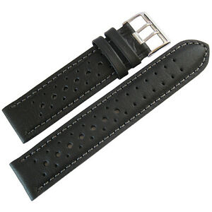 20mm-Fluco-Black-Racing-Rallye-Rally-Tropic-German-Made-Leather-Watch-Band-Strap