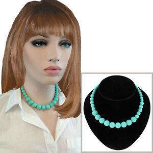 "New Aquamarine Green Graduated Lucite Beaded Necklace 16 1/2"""