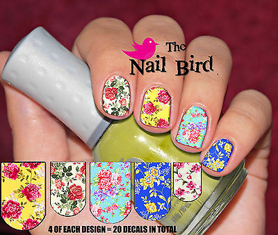 20 Mixed Set VINTAGE FLOWERS Nail Waterslide Decals Nail Transfers Nail WRAPS