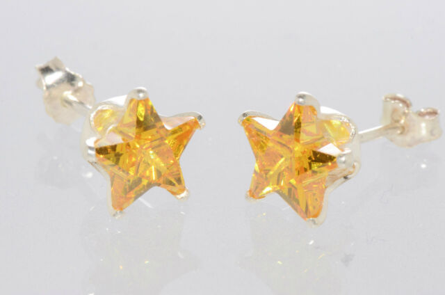 Sterling Silver STAR Earrings Citrine CZ November Birthstone Studs Yellow