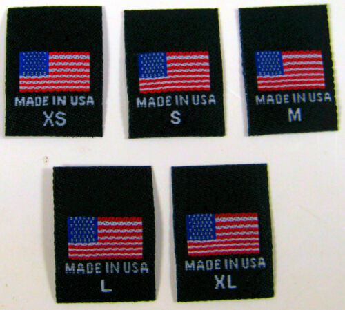100 pcs WOVEN CLOTHING SEWING LABELS MADE IN U.S.A AMERICAN FLAG XS S M L XL