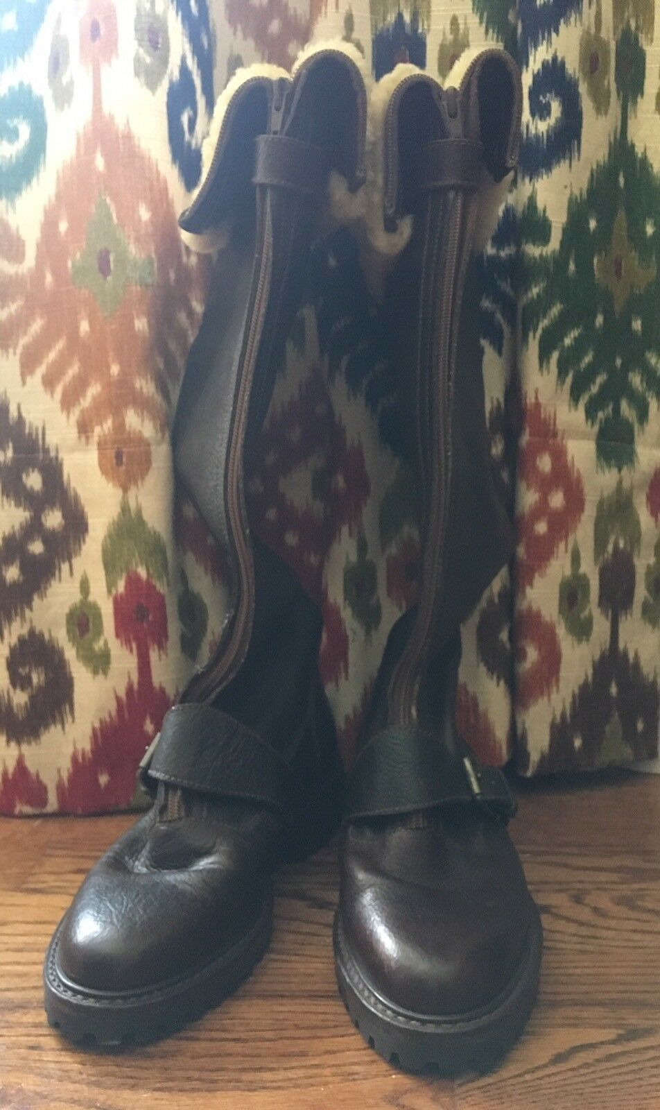 POLO RALPH LAUREN COUNTRY Vintage Brown Leather Shearling Aviation Boots 7.5 B