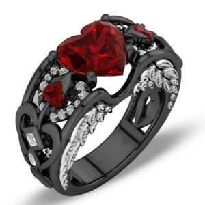 Us Red Ruby Black Gold Heart Angel Wings Ring Wedding Band Jewelry