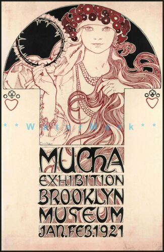 Brooklyn Museum 1921 Mucha Exhibition Vintage Poster Print Art Nouveau Decor