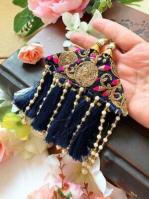 1 pair of Latest Indian Stone Mirror Pearl Latkan Sari Blouse Accessory Duppata