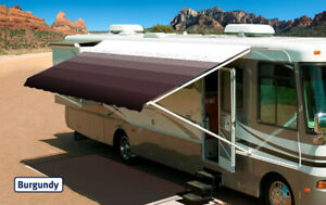 RV Awning Replacement fabric canopy, 10' Burgundy w/Wht W ...