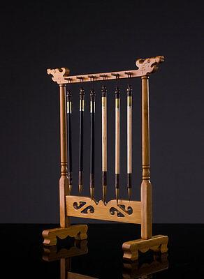 12 Hooks Brush Hanger Bamboo Rack Painting Calligraphy Sumi-e Penholder Tool