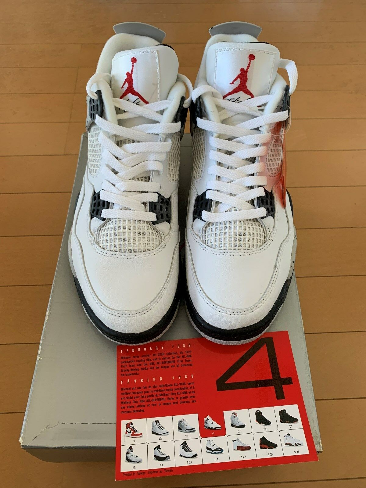 DS 1999 NIKE AIR JORDAN 4 RETRO 136013-101 WHITE CEMENT SZ8.5