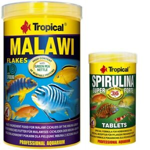 Tropical-Malawi-1000-ml-Flocken-Spirulina-Forte-36-Tabletten-250-ml