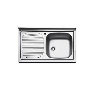 Lavello appoggio da cucina acciaio inox per mobile da 80 cm con ...