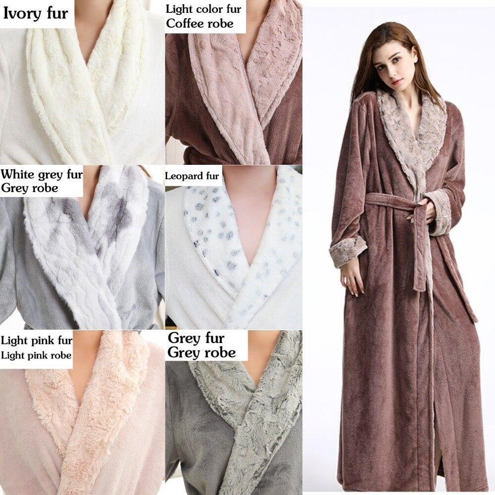 Sexy Women Men Extra Long Thermal Flannel Bathrobe Coral Fleece Winter Solid