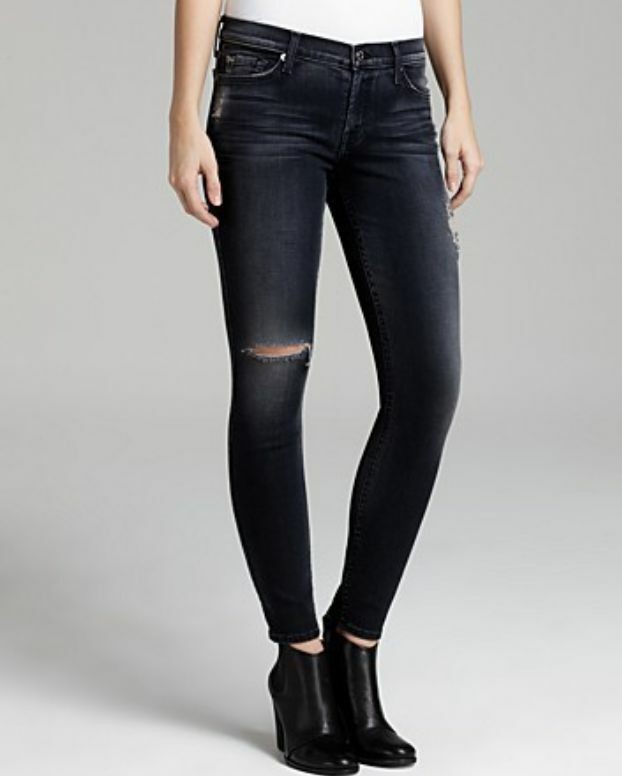 7 FOR ALL MANKIND THE SKINNY GREY JEANS W26