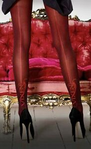 Glamorous-Vixen-Lettering-Seamed-Tights-Pantyhose-Large-Black-Red