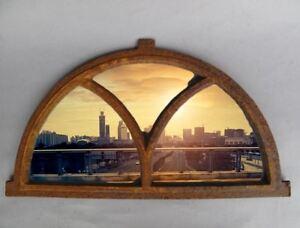 Stall Fenster Gußeisen rostig D.59x33cm Vintage ohne Spiegel Wand Deko Geschenk