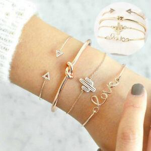 4Pcs-Set-Ladies-Gold-Triangle-Knot-Love-Cactus-Opening-Bangle-Chain-Bracelet-New