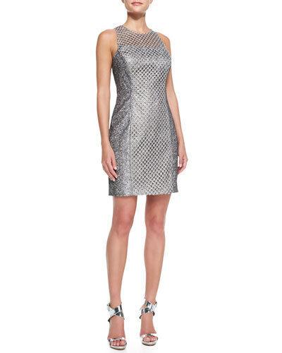 NWT Phoebe by Kay Unger Sleeveless Net Overlay Cocktail Metallic Mesh Dress 8