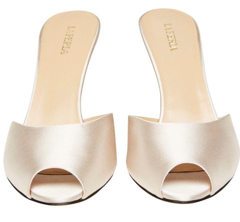 La Perla Mujeres Zapatos Zapatos Zapatos Obstruir sin puntera talón de seda 8 cm De Cuero Beige EU-35.5 US-5.5  punto de venta