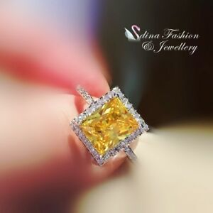 18K-White-Gold-Filled-Simulated-Diamond-Radiant-Cut-Halo-Engagement-Wedding-Ring