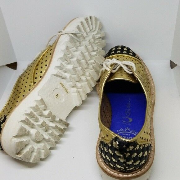Jeffrey Campbell Ibiza gold perforated perforated perforated loafers 6 9b18cc