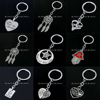 Fashion Heart Dad Mom Movie Model Charm Pendant Keyring Keychain Key Ring Chain