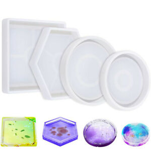 DIY Agate Coaster Resin Casting Mold Silicone Making Epoxy Mould Craft Clay Tool