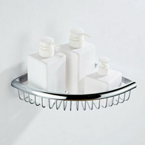 Polished Chrome Wall Mounted Bathroom Shelves Corner Shower Shelf Storage Basket