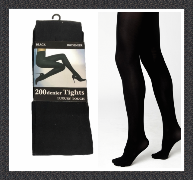 Womens Thermal Black Tights Velvet Touch 200 Denier Fleece Lines Thickness