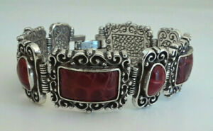 Brighton-Bracelet-Silver-Tone-Red-Leather-Pendants-Fold-Over-Clasp