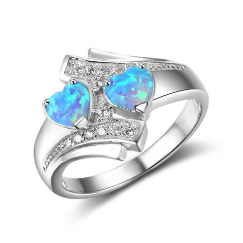 Women Jewelry Gift Colorful Opal Double Heart Ring Band Crystal Size 5-12 1PC