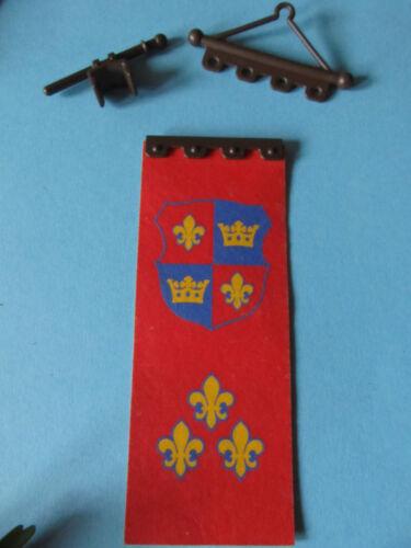 teilig SET Ritterburg 3666 PLaymobil Banner große Flagge Zugbrücke rot Lilie 4,