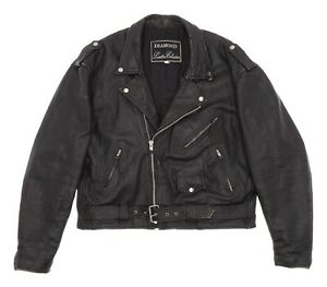 Vintage DIAMOND Leather Motorcycle Jacket XL Mens 46 Belted Biker Riding Jacket