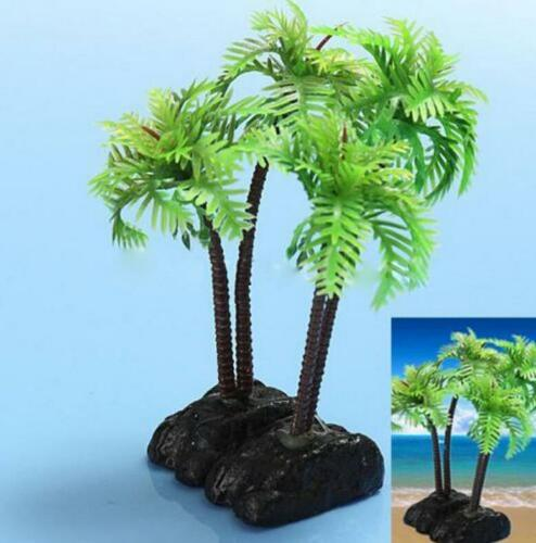 Plastic Aquarium Coconut Trees Fish Tank Plants Ornament Decoration Fresh BHCA