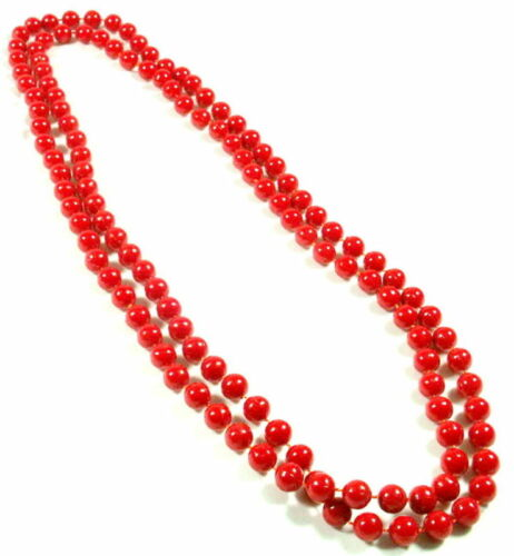 RED LONG BRIGHT COLOUR BEAD BEADED ROPE FASHION NECKLACE ACCESSORIES NEW 60CM