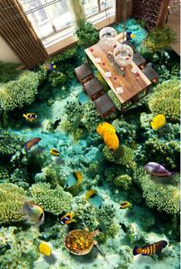 3D Green sea fish 3525 Floor WallPaper Murals Wall Print Decal 5D AJ WALLPAPER