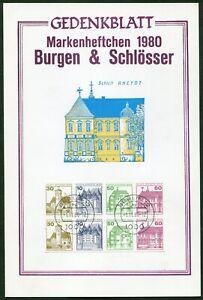 Berlin-H-Blatt-20-auf-Gedenkblatt-mit-611-C-D-gestempelt-1-11-80-Burgen-Schloes