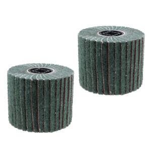 2Pc-120Grit-Non-woven-Abrasive-Flap-Wire-Drawing-Polishing-Burnishing-Wheel