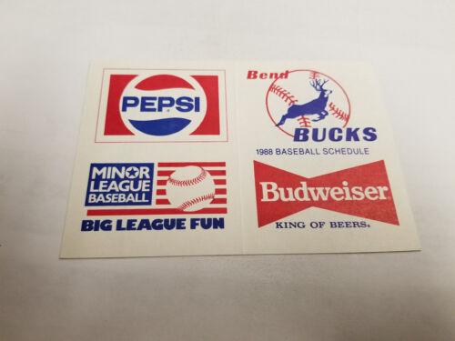 Bend Bucks 1988 Minor Baseball Pocket Schedule Budweiser//Pepsi