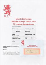 MORRIS EMMERSON MIDDLESBROUGH 1962-1963 ORIGINAL HAND SIGNED CUTTING/CARD
