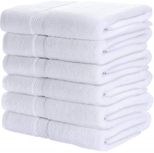 Utopia Towels 100% Cotton White Bath Towels Set 6 Pack, 22 x 44 Inch Lightweight