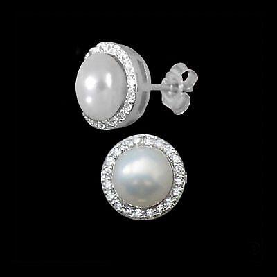 Damen Perlen Ohrstecker 925 Silber Süßwasser Zuchtperlen Zirkonia weiß Ohrringe