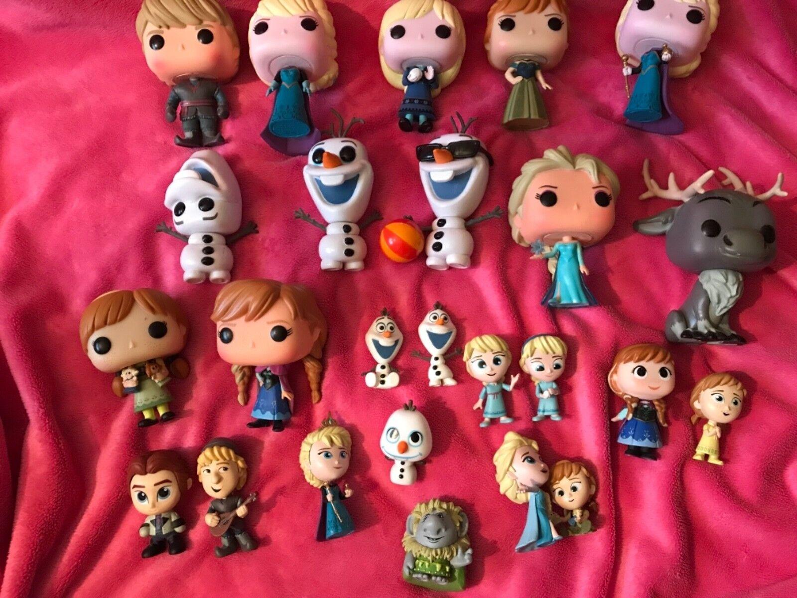 Massive frozen bundle of funko pops & smaller funko figures   just displayed