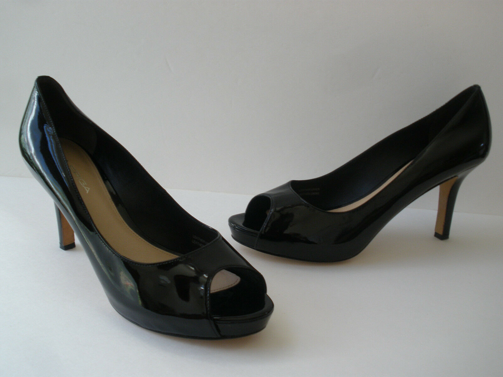 VIA SPIGA PATENT BLACK LEATHER PUMP PEP TOE HEELS 8.5M HOT SEXY  ITALY