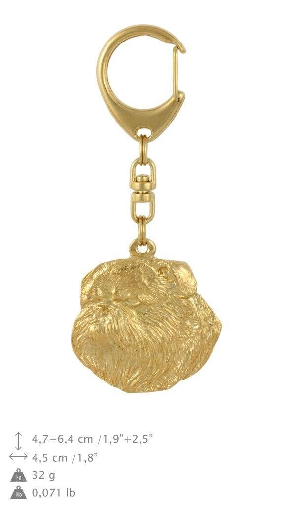 Griffon - oro covered keyring with dog, high quality, keychain Art Dog