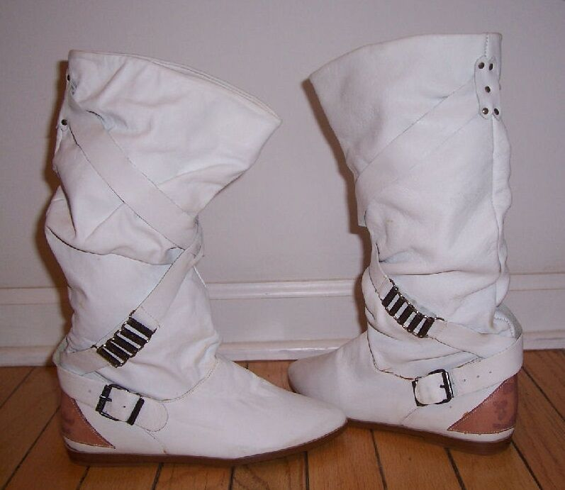 Vintage Latinas White Leather Slouch Boots - Size 5 NWT Great Looking