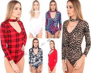 Womens Ladies Halter Neck Check Tartan Print Stretchy Bodysuit Top Leotard 8-14