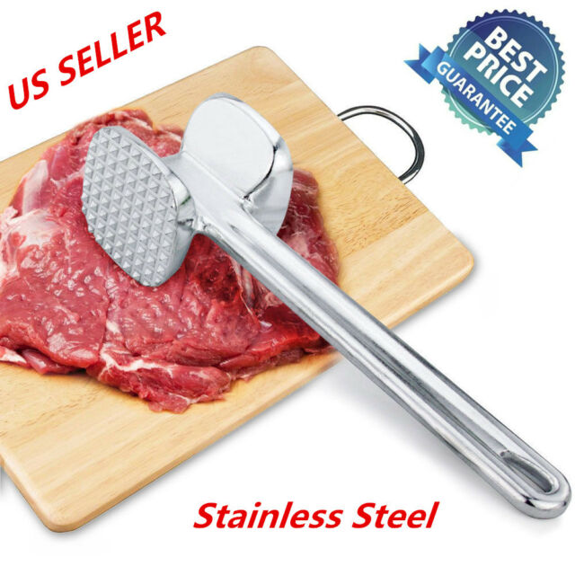 Stainless Steel Meat Hammer Tenderizer Double Side Beaf Steak Meat Hammer B L9V5