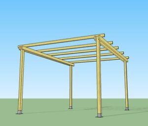 Pergola libera 3x2 in legno impregnato in autoclave e ferramenta ...